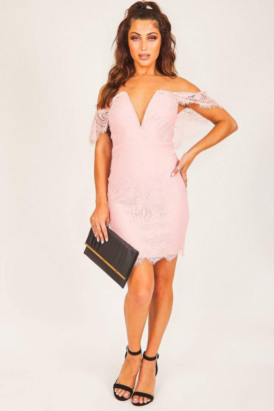 Pink Lace V Bar Bardot Dress - KATCH ME