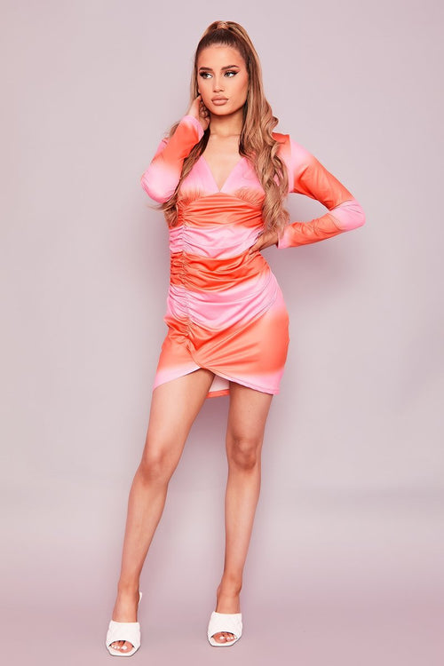 Pink & Orange Gradient Ruched Mini Dress- Nabila - KATCH ME