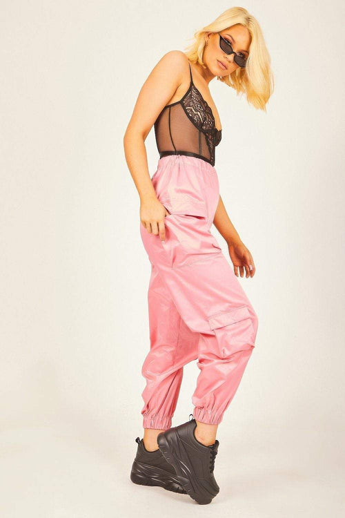 Pink Oversized Utility Shell Suit Joggers - KATCH ME