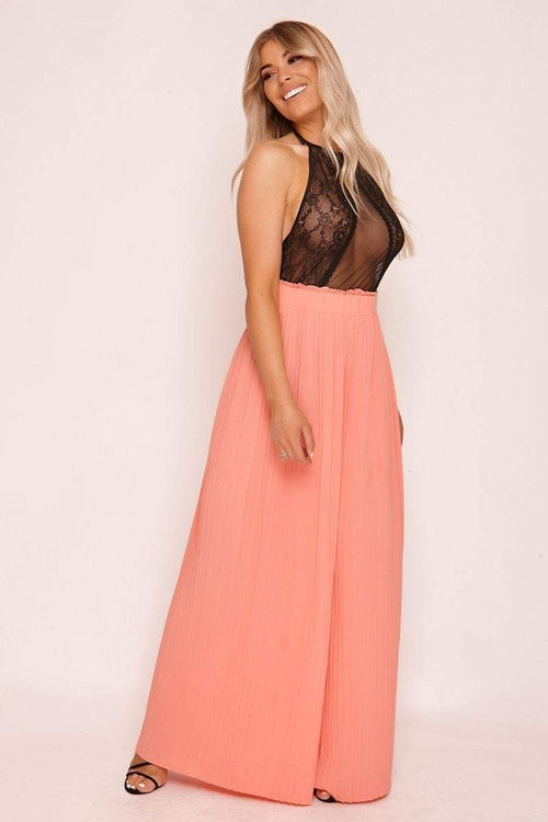 Pink Pleated Palazzo Trousers - KATCH ME