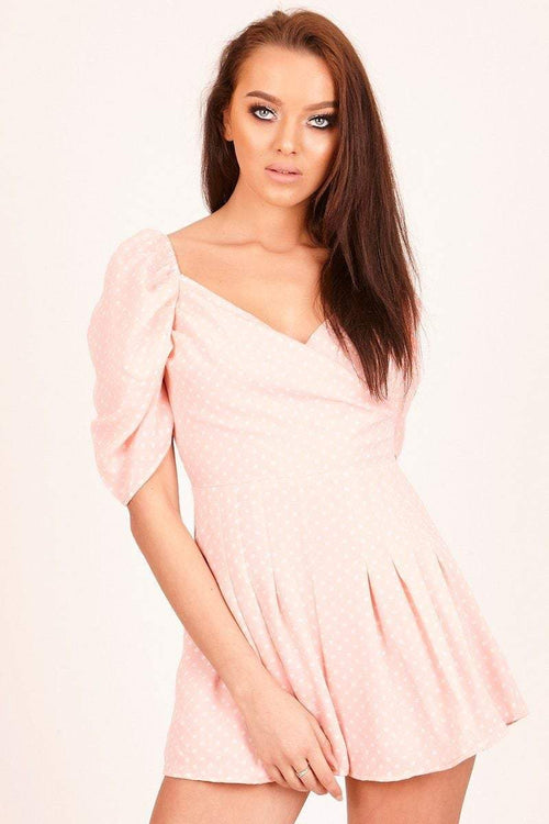 Pink Polka Dot Puff Sleeve Playsuit - KATCH ME