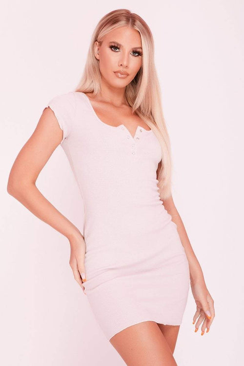Pink Ribbed Popper Mini Dress- Vivvian - KATCH ME