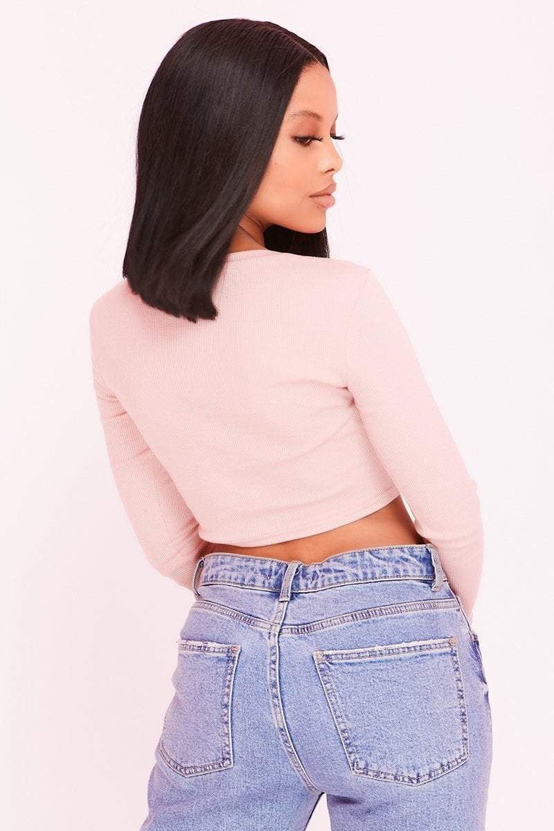Pink Ribbed Underbust Corset Crop Top- Madison - KATCH ME