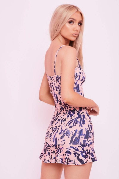 Pink Ruched Abstract Print Mini Dress- Zelda - KATCH ME