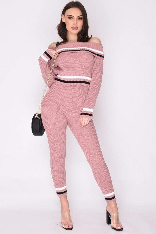 Pink Stripe Knit Loungewear Set - KATCH ME