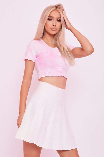 Pink Tie Dye Button Crop - Riley - KATCH ME