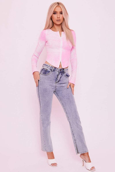 Pink Tie-Dye Ribbed Zip Up Crop Top - Julie - KATCH ME