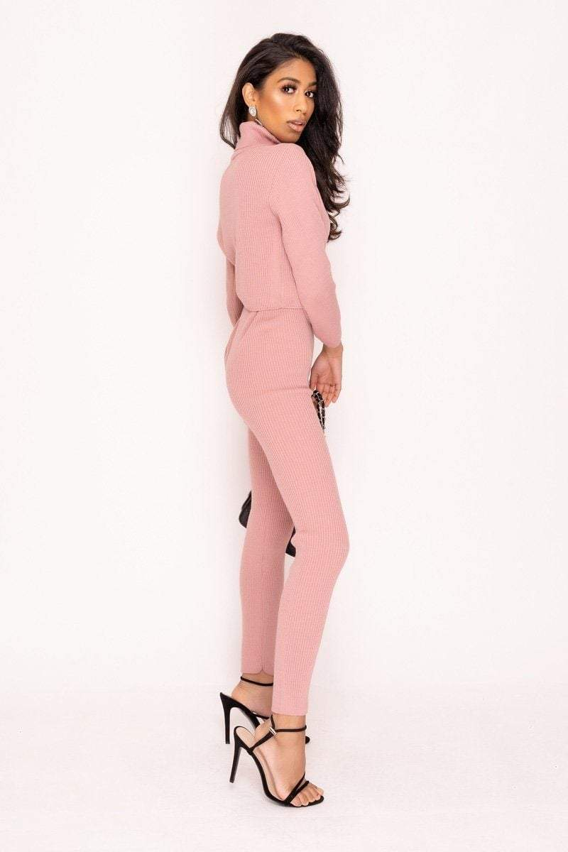 Pink Turtle Neck Loungewear Set - KATCH ME