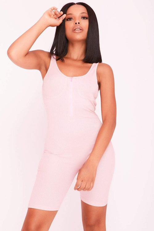 Pink Underwired Cup Zip Front Unitard Playsuit- Camila - KATCH ME