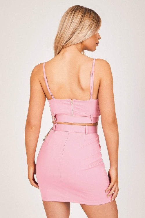Pink Western Buckle Triangle Bralette - KATCH ME