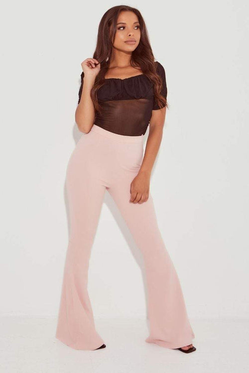 Pink Wide Leg Flare High Waist Trousers- Bonnie - KATCH ME
