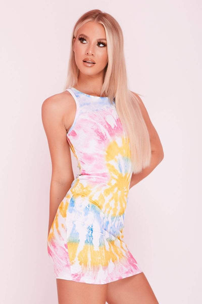 Pink & Yellow Tie Dye Ribbed Racer Back Mini Dress- Samantha - KATCH ME