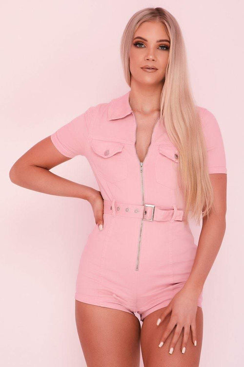 Pink Zip Front Utility Playsuit - KATCH ME