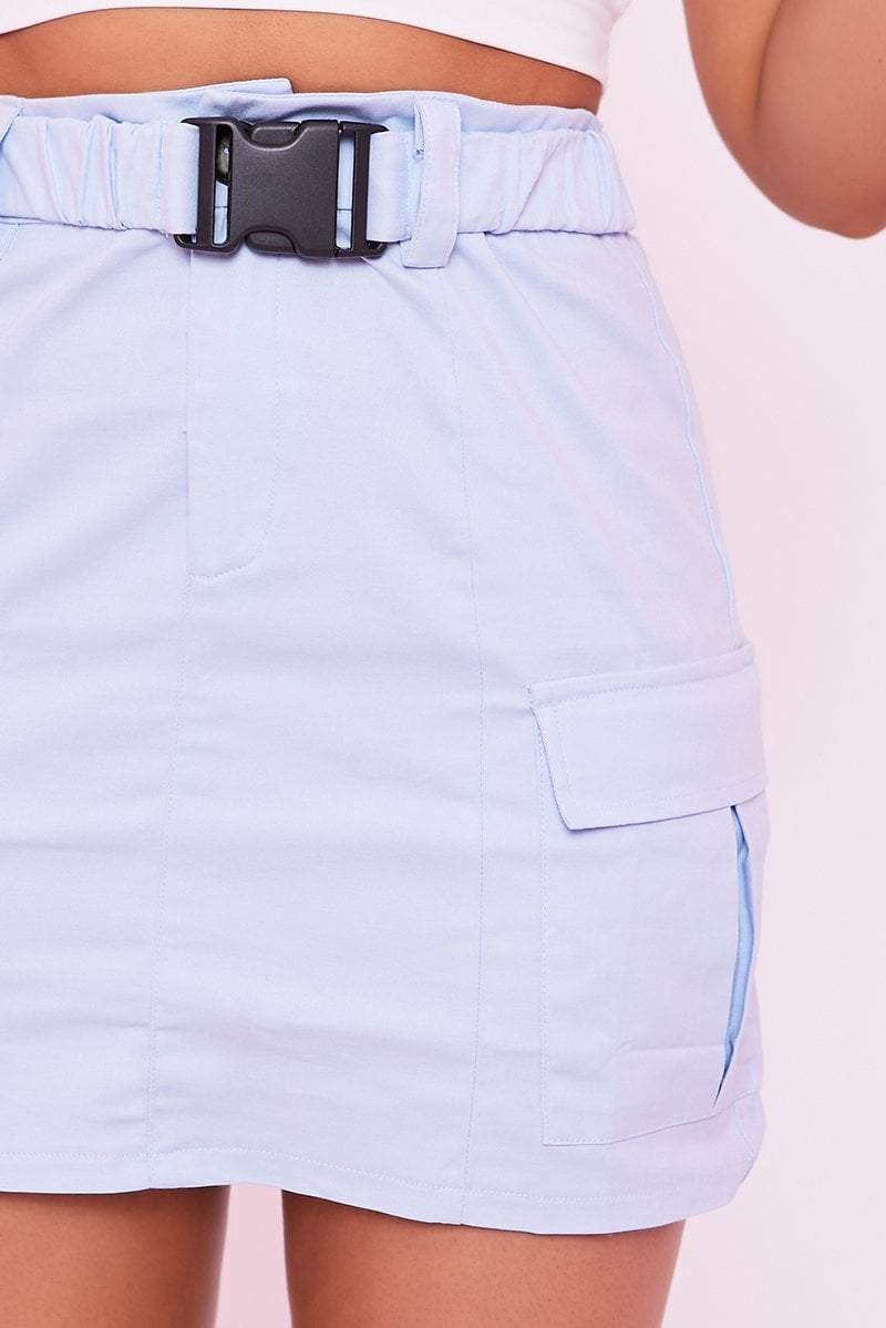 Powder Blue Buckle Front Utility Skirt - Gianna - KATCH ME