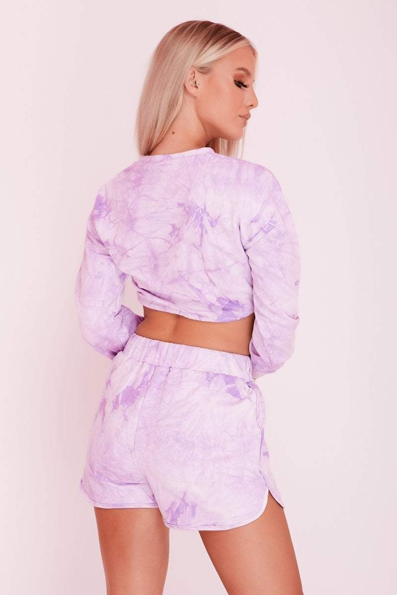 Purple Tie Dye Jersey Sweat Shorts & Crop Top Co-ord- Ariana - KATCH ME