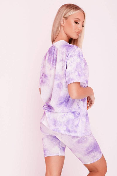 Purple Tie Dye Oversized T-Shirt & Cycling Shorts Co-ord- Josephine - KATCH ME