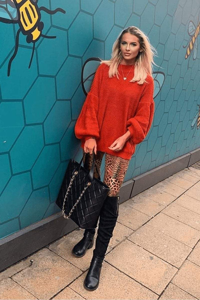 Red Balloon Sleeve Knitted Jumper - KATCH ME