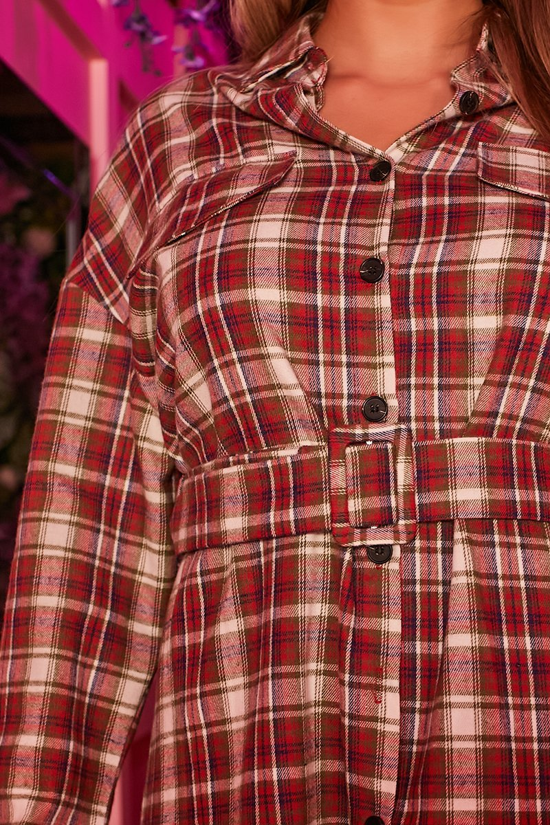 Red Belted Check Shirt - Rosa - KATCH ME