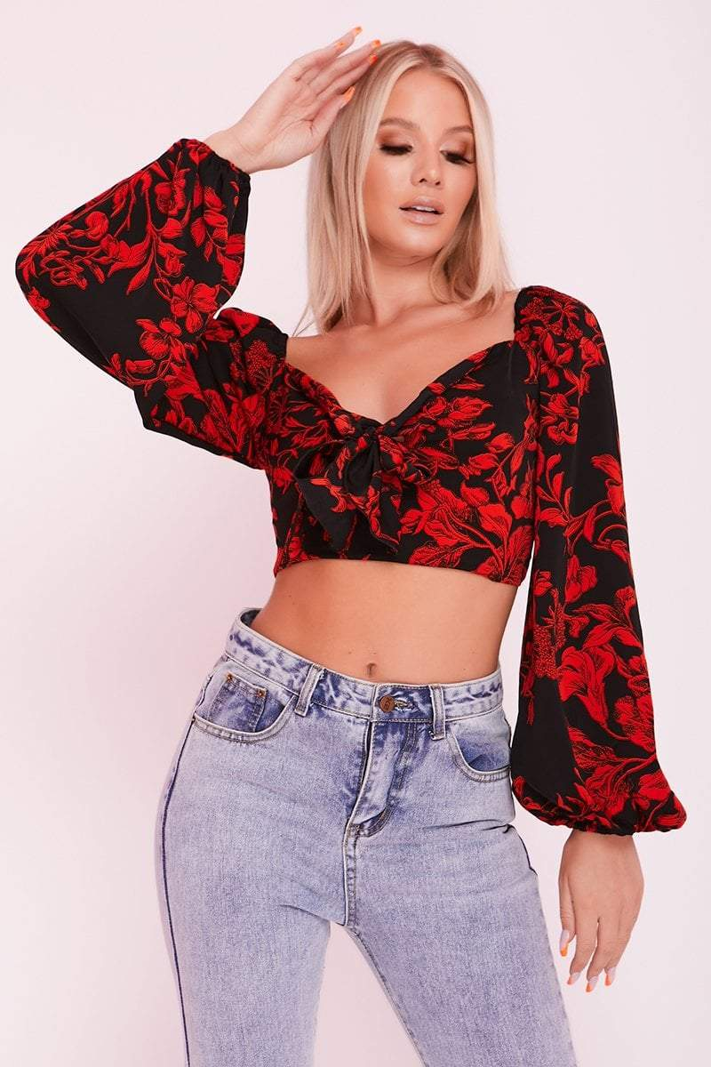 Red & Black Floral Print Puff Sleeve Crop Top- Kinsley - KATCH ME