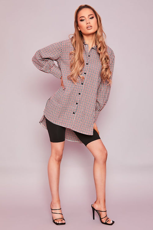 Red Check Oversized Shirt- Sky - KATCH ME