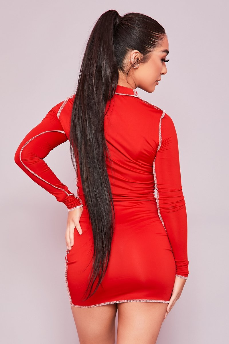 Red Exposed Seam Bodycon Mini Dress- Beatrice - KATCH ME