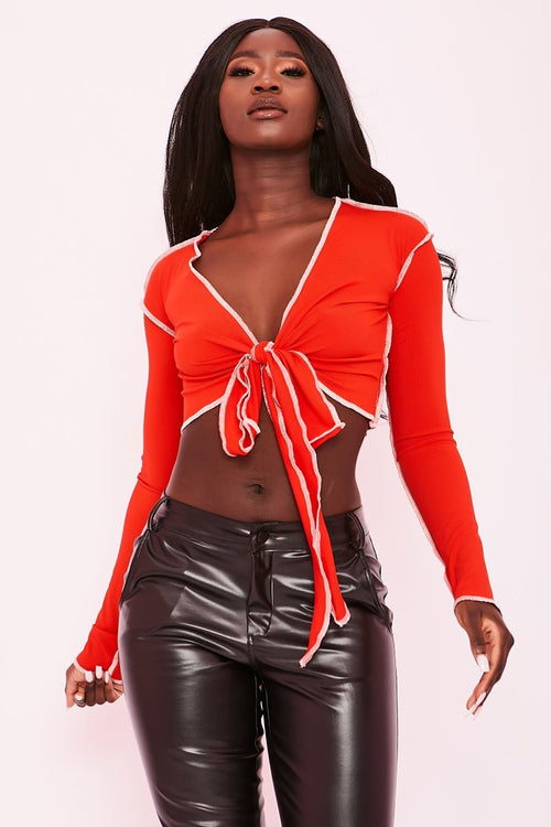 Red Exposed Seam Long Sleeve Top - Winona - KATCH ME