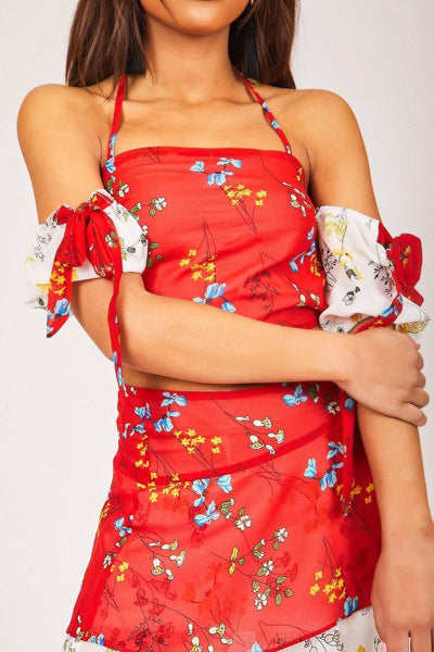 Red Floral Halterneck Crop Top - KATCH ME