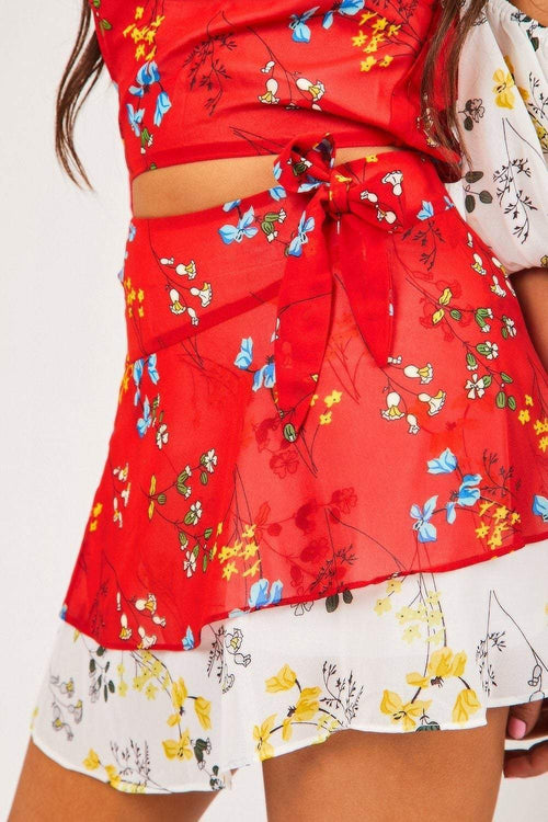 Red Floral Tie Front Skirt - KATCH ME