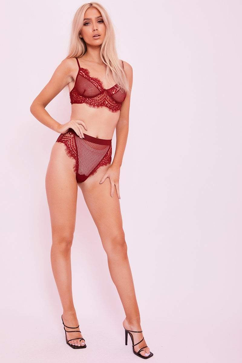 Red Lace Bra & Knickers Set - Tabitha - KATCH ME