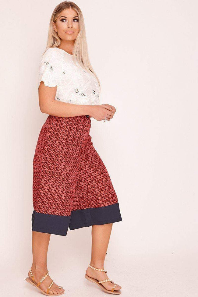 Red Printed Cropped Culotte Trousers - KATCH ME