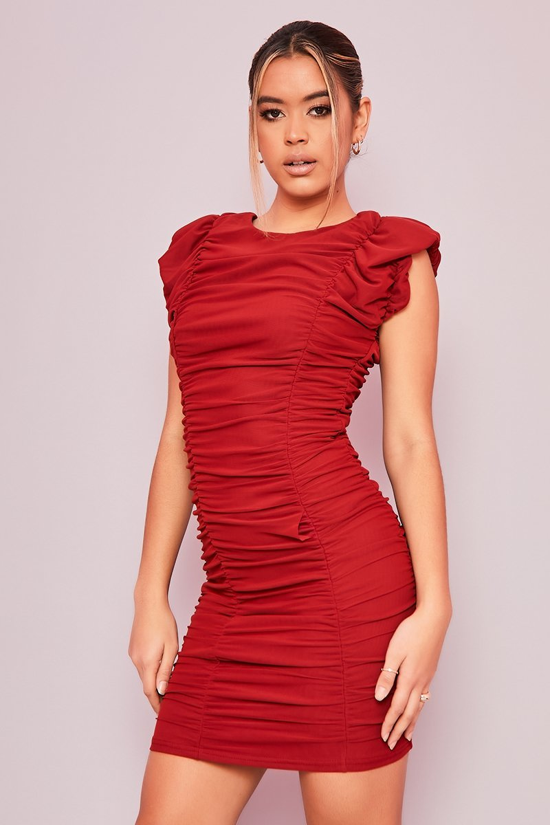 Red Ruched Panel Dress - Margot - KATCH ME