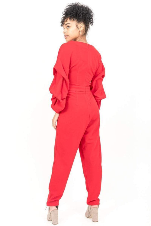 Red Ruffle Sleeve Jumpsuit - KATCH ME