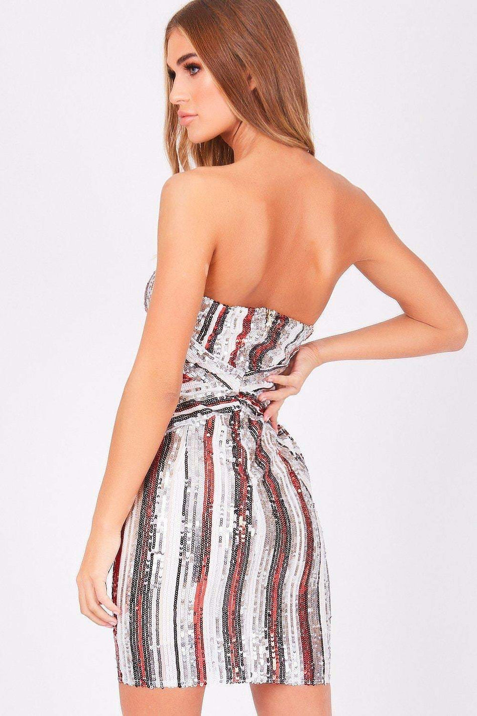 Red Stripe Sequin Mini Dress - KATCH ME