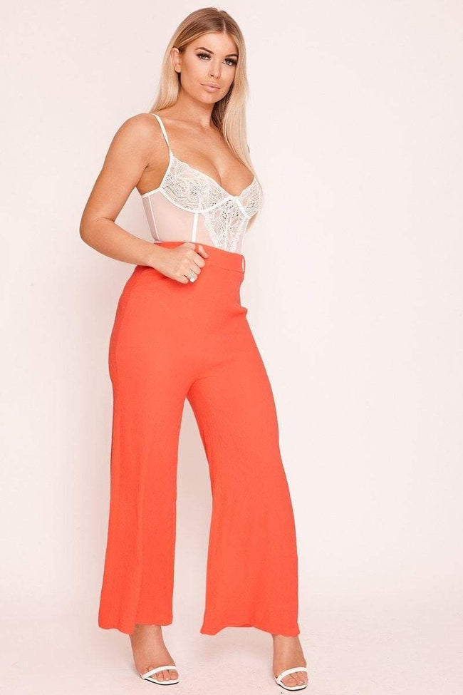 Red Wide Leg Crepe Trousers - KATCH ME
