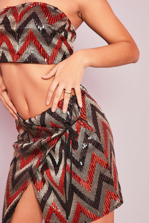 Red Zig-Zag Sequin Co-ord- Francoise - KATCH ME