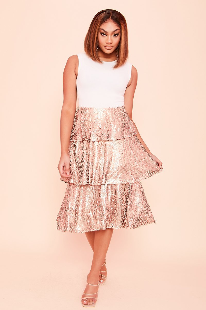 Rose Gold Layered Sequin Midi Skirt - KATCH ME