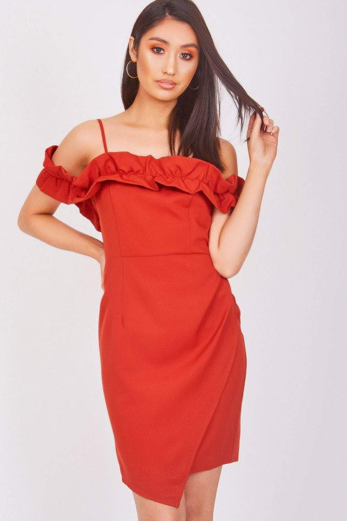 Rust Dress With Frill Detail - KATCH ME