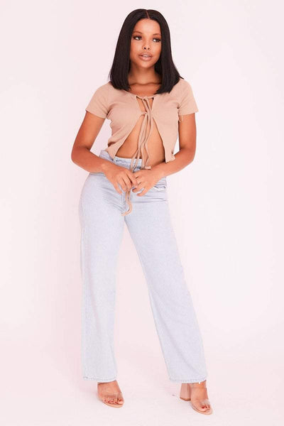 Sand Open Lace Up Crop Top - KATCH ME