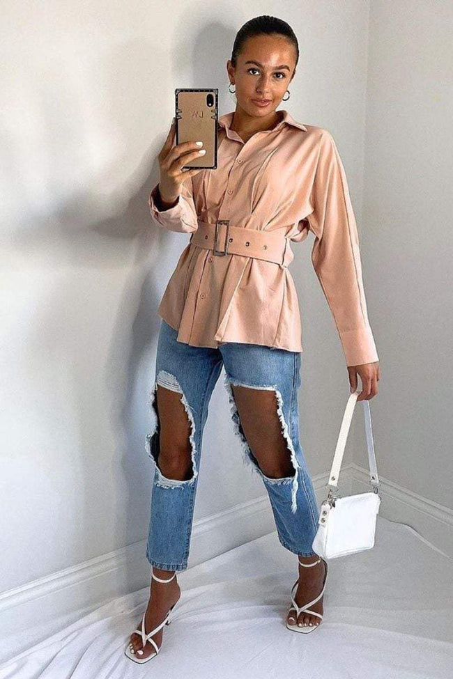 Sand Oversized Belted Shirt- Evelyn - KATCH ME