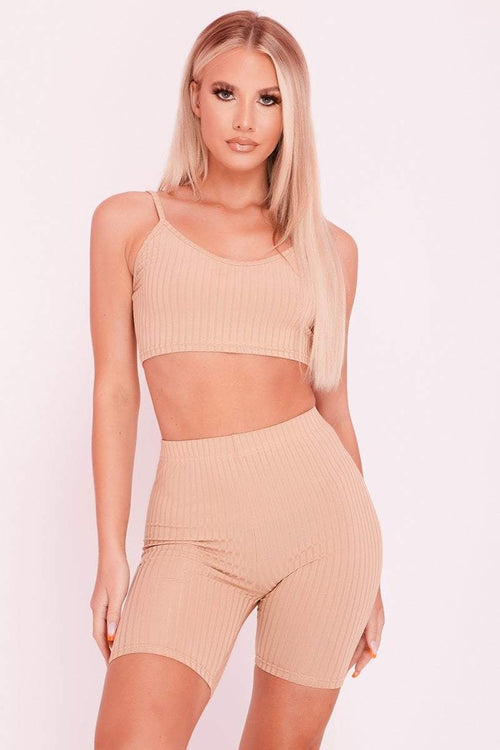 Sand Ribbed Cycling Shorts & Crop Top Sports Co-ord- Delilah - KATCH ME