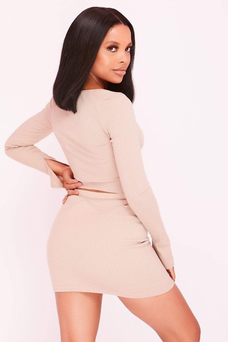 Sand Ribbed Double Zip Top & Skirt Co-ord - KATCH ME