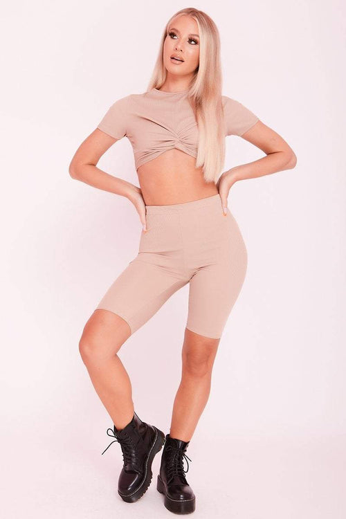 Sand Ribbed Twist Front Crop Top & Cycling Shorts Co-ord- Naomi - KATCH ME