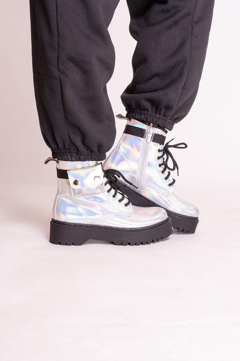 Shaughna Silver Patent Lace Up Buckle Boots - Uk 3/ Us 5/ Eu 36 Silver