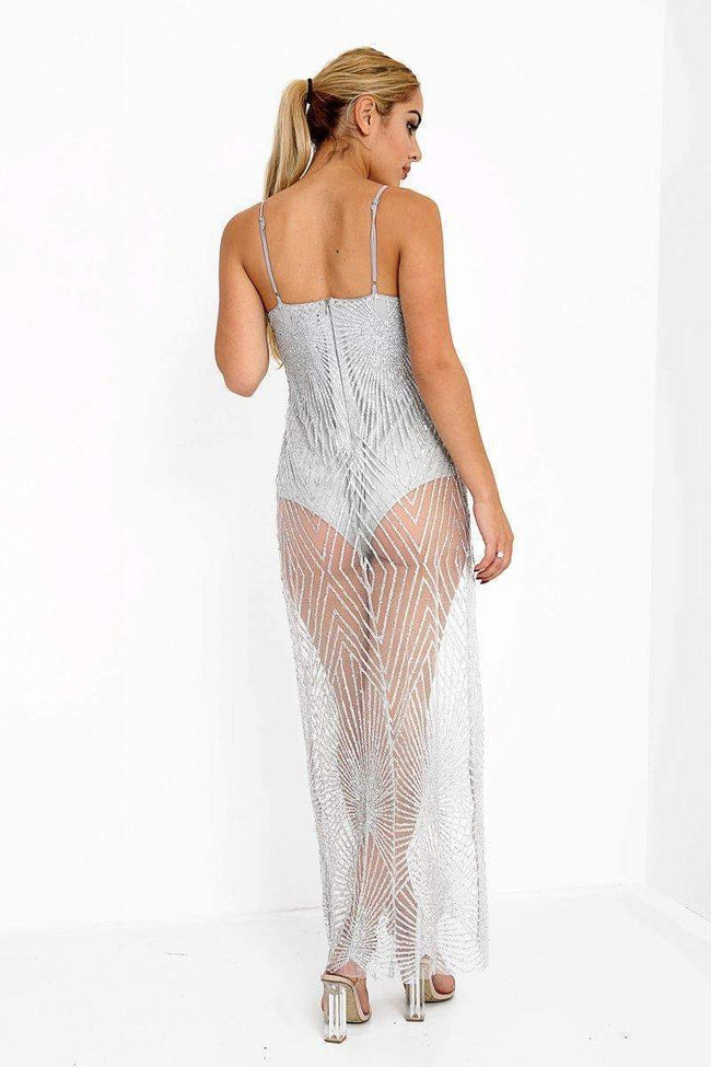 Silver Glitter Sheer Maxi Dress - KATCH ME