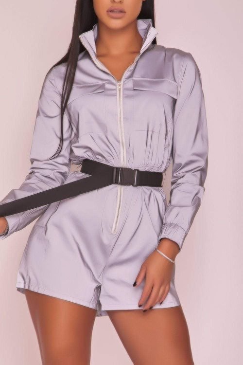 Silver Zip Front Reflective Playsuit - KATCH ME
