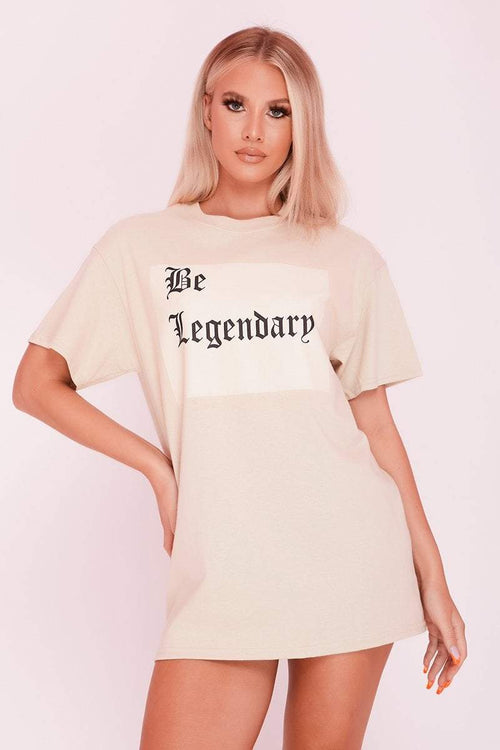 Stone 'Legendary' Slogan Printed Oversized T-Shirt- Leah - KATCH ME