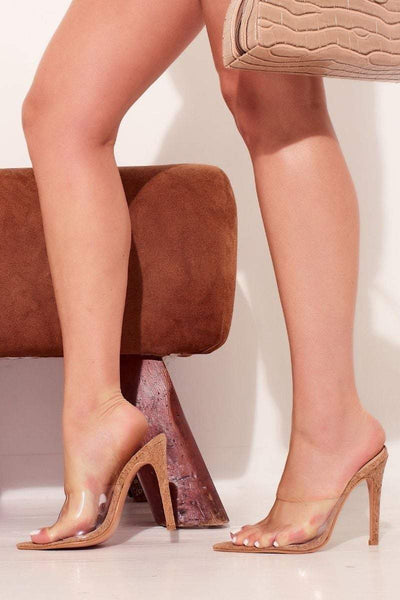 Tan Cork Perspex Peep Toe Heels- Bettina - KATCH ME
