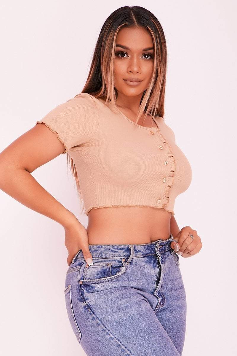 Tan Frill Button Front Crop Top- Annalise - KATCH ME