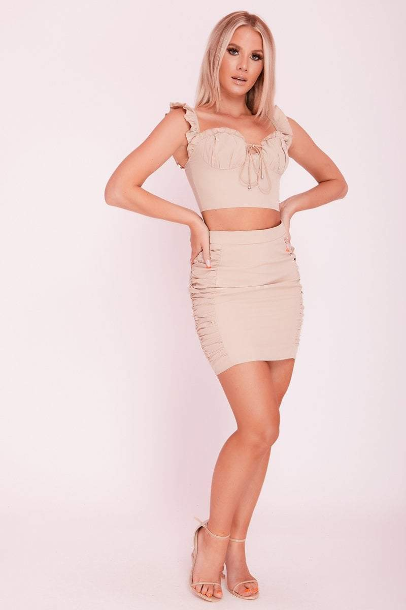 Tan Ruched Tie Front Co-ord- Micaela - KATCH ME