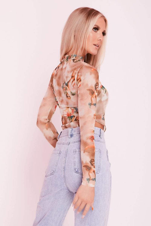 Tan Sheer Mesh Angel Print Bodysuit- Lorelei - KATCH ME